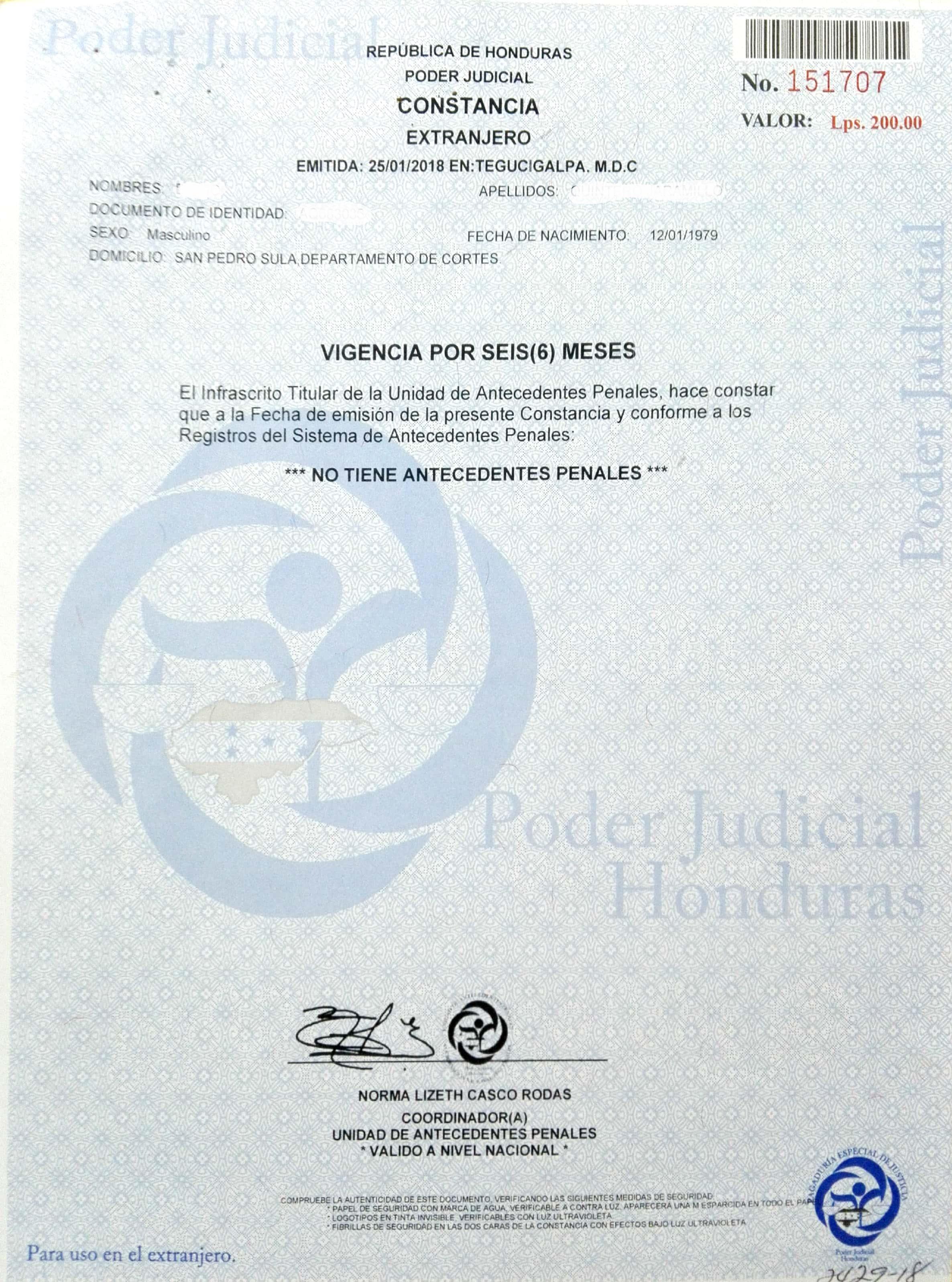 Obtener la Constancia de Antecedentes Penales en Honduras para uso ...