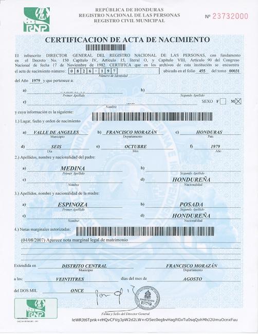 Obtener Certificación de Acta (Partida) de Nacimiento en Honduras ...