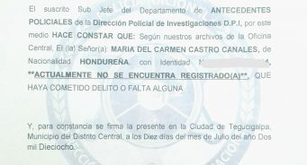 Pasos para obtener la Constancia de Antecedentes Policiales Apostillada en Honduras