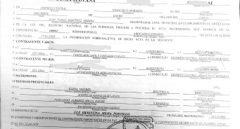 Copia de Folio de Matrimonio Certificada en Honduras