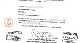 ¿Como validar para uso en el extranjero documentos firmados por un Notario Público de Honduras?